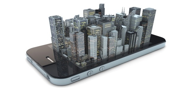render of an smartphone with a modern city over the screen